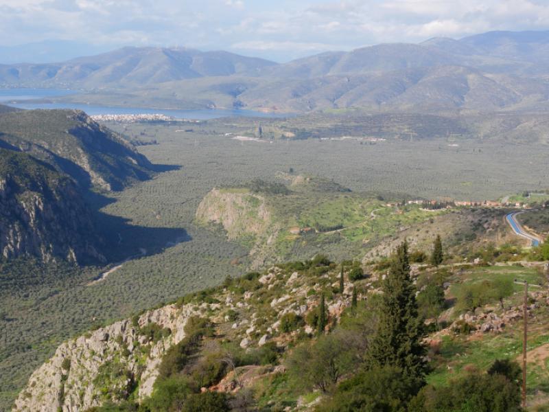uitzicht vanuit de weg naar Delphi